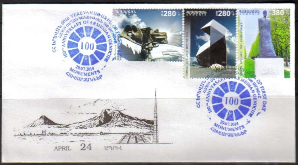<font =2-680>680-682, 100th Anniversary of the Armenian Genocide, Official FDC, Scott #999-1001 <br><br> <a href=&quot;/images/ArmenianStamps-680-682-FDC.jpg&quot;>   <font color=green><b>View the image</b></a></font>