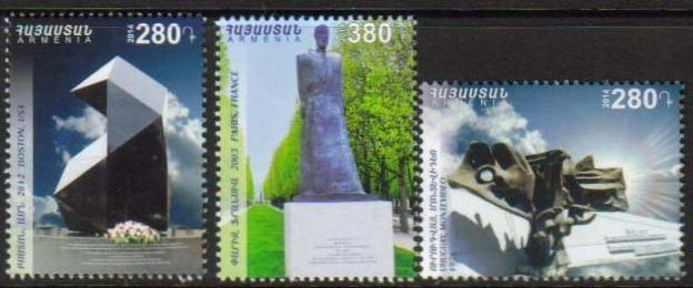 "<font =1-680>680-682, 100th Anniversary of Armenian Genocide, Monuments, Scott #999-1001 <br>Date of Issue: July 29<br> <a href=""/images/ArmenianStamps-680-682.jpg\"">   <font color=green><b>View the image</b></a></font>"