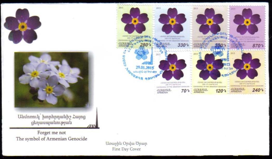 "<font =2-709>709-715, Centennial of the Armenian Genocide, Forget-Me-Not Emblem, official FDC, Scott # <br>Date of Issue: Jan 29<br> <a href=""/images/ArmenianStamps-709-715-FDC.jpg"">   <font color=green><b>View the image</b></a></font>"