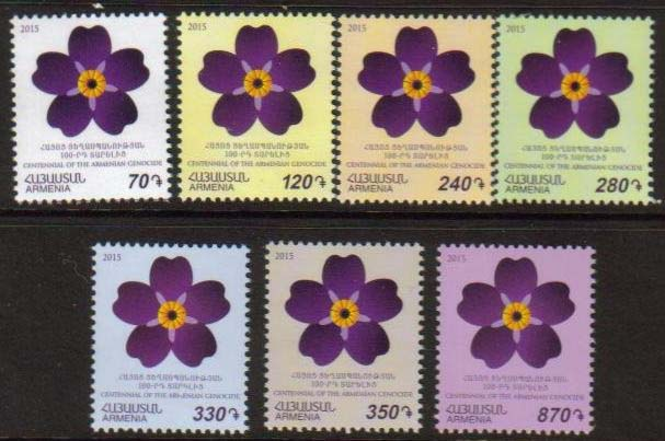 <font =1-709>709-715, Centennial of the Armenian Genocide, Forget-Me-Not Emblem, Scott #1026-1031 <br>Date of Issue: Jan 29<br> <a href=&quot;/images/ArmenianStamps-709-715.jpg&quot;>   <font color=green><b>View the image</b></a></font>