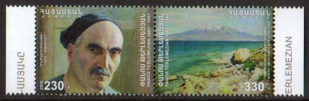 "<font =1-719>718-719, Panos Terlemezian, Painter, Se-tenant pair, Scott #... <br>Date of Issue: March 3<br> <a href=""/images/ArmenianStamps-718-719-Pair.jpg"">   <font color=green><b>View the image</b></a></font>"