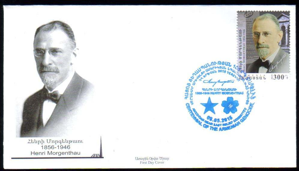 <font =2-723>723, Centennial of the Armenian Genocide, Henry Morgenthau, US Secretary of the Treasury, Ambassador.  Official FDC, Scott #... <br>Date of Issue: May 6<br> <a href=&quot;/images/ArmenianStamps-723-FDC.jpg&quot;>   <font color=green><b>View the image</b></a></font>