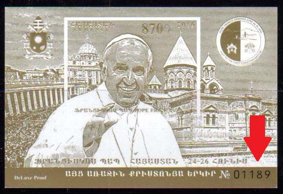 "<font =1-758b>758 Deluxe, Pope Francis Visit to Armenia, Deluxe Proof Souvenir Sheet, numbered, Mintage 2000, Scott #--- <br>Date of Issue: June 24 <br> <a href=""/images/ArmenianStamps-758-DeluxB.jpg"">   <font color=green><b>View the image</b></a></font>"