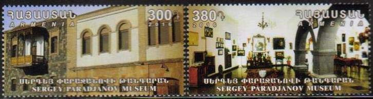 <font =1-774>774-775, Sergey Paradjanov's home museum, a set of 2, Scott #1080 <br>Date of Issue: Nov 18<br> <a href=&quot;/images/ArmenianStamps-774-775.jpg&quot;>   <font color=green><b>View the image</b></a></font>