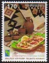 <font =1-776>776, National Cuisine, Telbats Koubati dish, a single stamp, Scott #1081 <br>Date of Issue: Nov 28<br> <a href=&quot;/images/ArmenianStamps-776.jpg&quot;>   <font color=green><b>View the image</b></a></font>