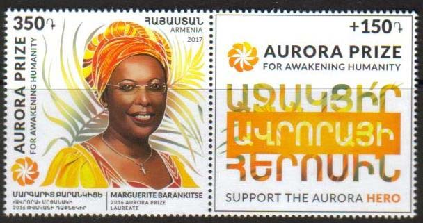 <font =1-796>796, Aurora Prize for Awakening Humanity, Marguerite Barankitse, Scott #B-2 <br>Date of Issue: May 26<br> <a href=&quot;/images/ArmenianStamps-796.jpg&quot;>   <font color=green><b>View the image</b></a></font>