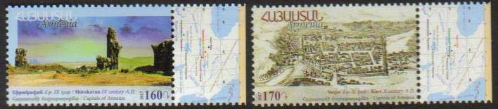 <font =1-828>828-829, Historic Capitals of Armenia (Shirakavan and Kars), Set of 2, Scott # <br>Date of Issue: December 12<br> <a href=&quot;/images/ArmenianStamps-828-829.jpg&quot;>   <font color=green><b>View the image</b></a></font>