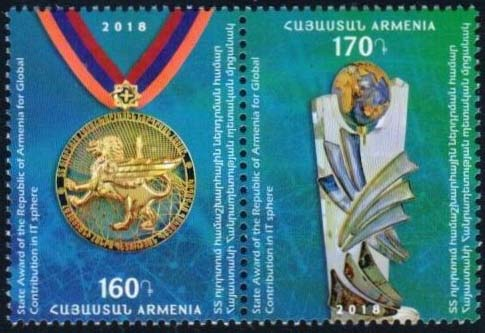 "<font =1-875>875-876, State Award for Global Contributions in IT, Scott #1161 <br>Date of Issue: Nov 30<br> <a href=""/images/ArmenianStamps-875-876.jpg\"">   <font color=green><b>View the image</b></a></font>"