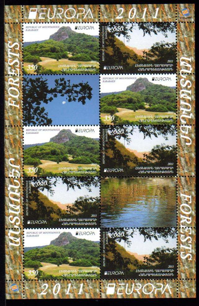"<font 4-069c>Nagorno Karabakh #69-70, Europa 2011, Forests, Se-tenant sheet of stamps + Labels, <font color=red>Combo Sheet</font> <a href=""/images/KA-069-070-Perf-Combo.jpg"">   <font color=green><br><b>View the image</b></a></font>"