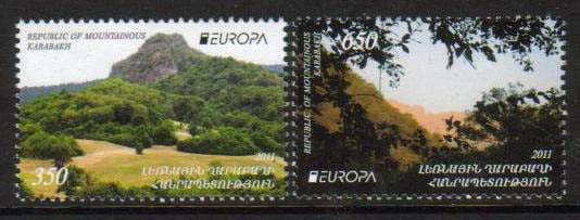 "<Font 1-069><br>Nagorno Karabakh #69-70, Europa 2011, Forests<br>Set of 2 stamps<br><a href=""/images/KA-069-070-Perf-Set.jpg"">   <font color=green><b>View the image</b></a></font><br>"