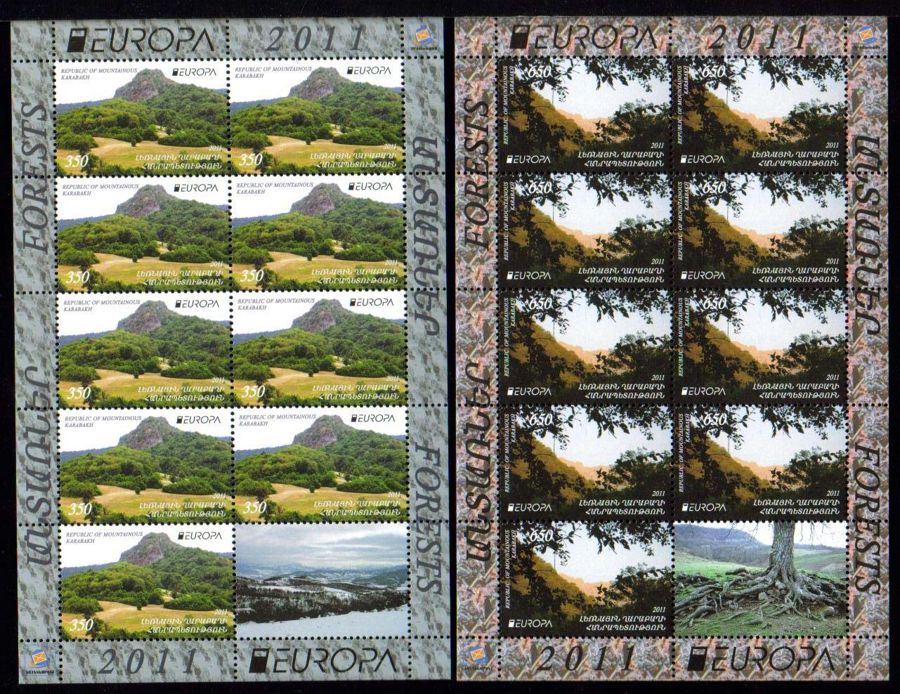"<font 4-069>Nagorno Karabakh #69-70, Europa 2011, Forests, sheetlets of 9 + Label <a href=""/images/KA-069-070-Perf-Sheet.jpg"">   <font color=green><br><b>View the image</b></a></font>"