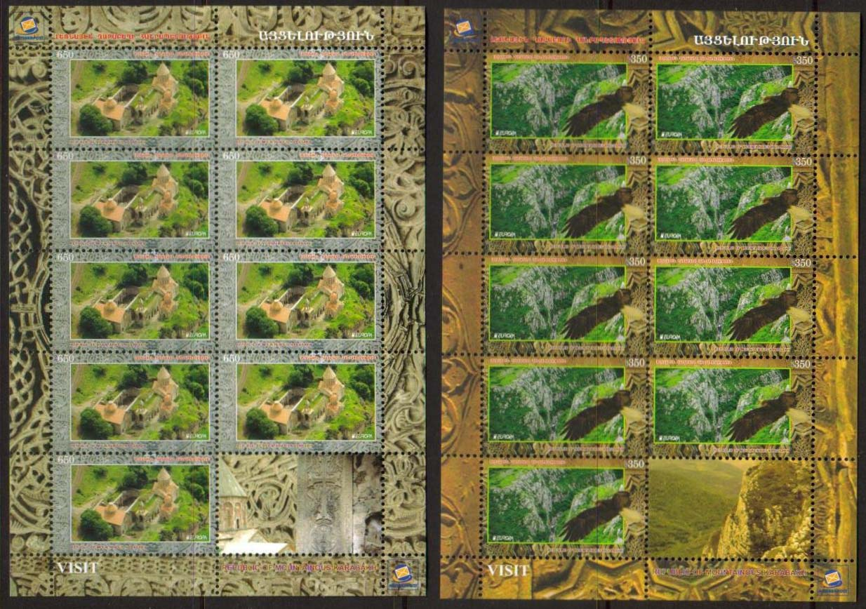 "<Font 4-075><br>Nagorno Karabakh #75-76, 2012 Europa, Visit<br>Complete sheet of 9 stamps and one label<br><a href=""/images/KA-075-076-Sheet.jpg"">   <font color=green><b>View the image</b></a></font><br>"