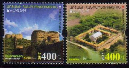 "<Font 1-133><br>Artsakh #133-134, Europa 2017, Castles, set of 2 perf<br><a href=""/images/KA-133-134.jpg"">   <font color=green><b>View the image</b></a></font><br>"