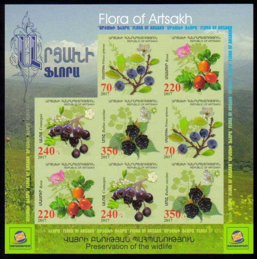 <Font 3-135h><br>Artsakh #135-138, Medical Fruits and Flowers, Imperf Combination sheet  <br><a href=&quot;/images/KA-135-138-Imperf-Combo.jpg&quot;>   <font color=green><b>View the image</b></a></font><br>