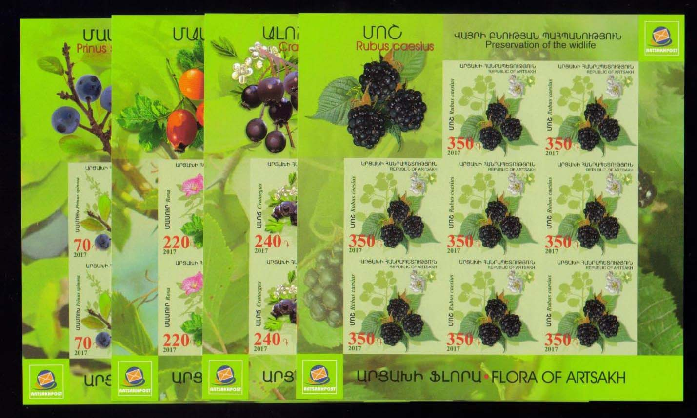 <Font 3-135g><br>Artsakh #135-138, Medical Fruits and Flowers, Imperf Sheets of 8  <br><a href=&quot;/images/KA-135-138-Imperf-Sheets.jpg&quot;>   <font color=green><b>View the image</b></a></font><br>