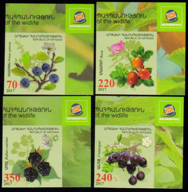<Font 1-135b><br>Artsakh #135-138i, Medical Fruits and Flowers, imperf, set of 4  <br><a href=&quot;/images/KA-135-138-Imperf.jpg&quot;>   <font color=green><b>View the image</b></a></font><br>