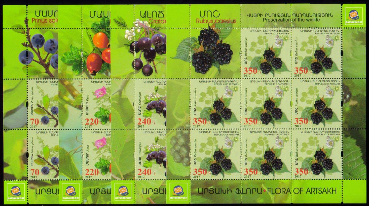 <Font 3-135f><br>Artsakh #135-138, Medical Fruits and Flowers, perf, Sheets of 8  <br><a href=&quot;/images/KA-135-138-Sheets.jpg&quot;>   <font color=green><b>View the image</b></a></font><br>