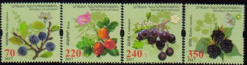 <Font 1-135a><br>Artsakh #135-138, Medical Fruits and Flowers, perf, set of 4  <br><a href=&quot;/images/KA-135-138.jpg&quot;>   <font color=green><b>View the image</b></a></font><br>