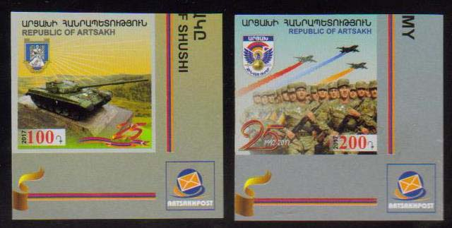 "<Font 1-140a><br>Artsakh #140-141i, 25th Anniversary of Artsakh Army, imperf, set of 2 <br><a href=""/images/KA-140i-141i.jpg"">   <font color=green><b>View the image</b></a></font><br>"