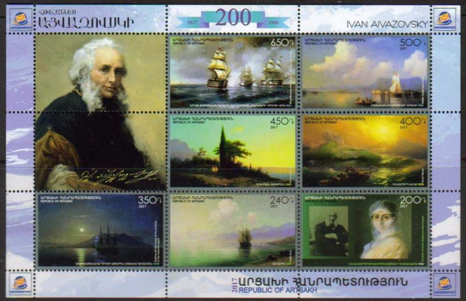 "<Font 1-146><br>Artsakh #146-152, Hovhannes Aivazovsky, 200th Birth Anniversary, Souvenir Sheet of 7 stamps and 2 labels <br><a href=""/images/KA-146-152.jpg\"">   <font color=green><b>View the image</b></a></font><br>"