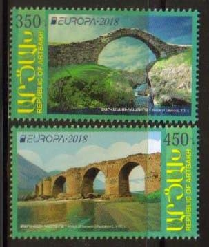 "<Font 1-160>Artsakh #160-161, Europa 2018, Bridges, set of 2 <br><a href=""/images/KA-160-161.jpg"">   <font color=green><b>View the image</b></a></font>"