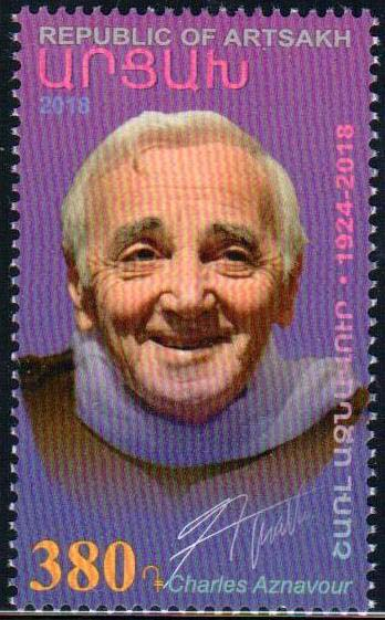"<Font 1-177>Artsakh #177, Charles Aznavour, a single stamp <br><a href=""/images/KA-177.jpg"">   <font color=green><b>View the image</b></a></font>"