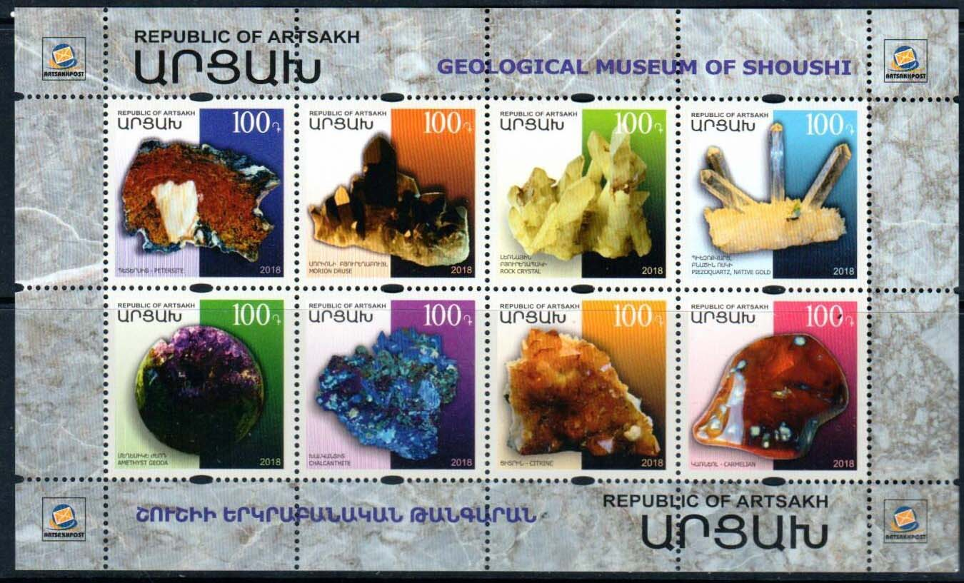 "<Font 1-178>Artsakh #178-185, Geological Museum of Shoushi, a mini-sheet of 8 colorful stamps <br><a href=""/images/KA-178-185.jpg"">   <font color=green><b>View the image</b></a></font>"