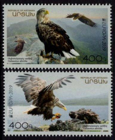 "<Font 1-190>Artsakh #190-191, Europa 2019, White-tailed eagle, the National Bird, set of 2 stamps <br><a href=""/images/KA-190-191.jpg"">   <font color=green><b>View the image</b></a></font>"