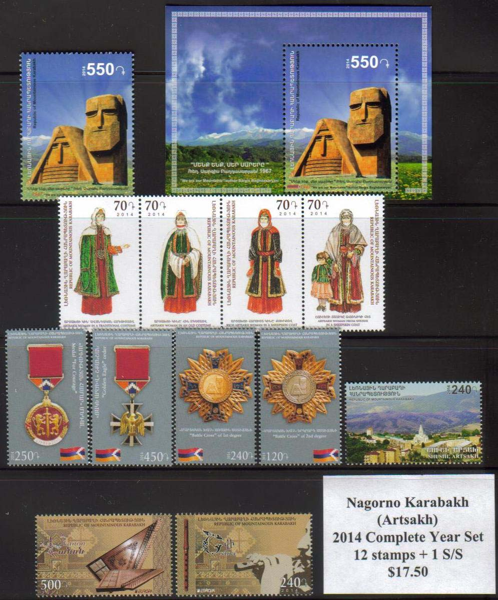 "<Font 0-year-2014><font color=red><b>Nagorno Karabakh 2014 Complete Year set</font></b>, 12 stamps and one Souvenir Sheet<br><a href=""/images/KA-2014-Year.jpg"">   <font color=green><b>View the image</b></a></font>"