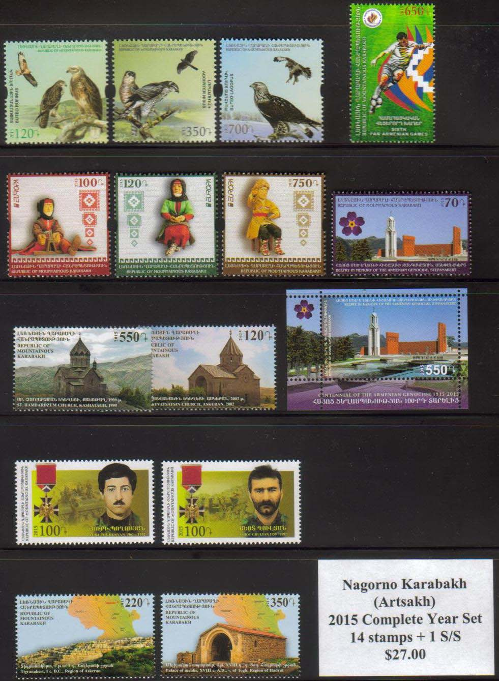 "<Font 4-year-2015><br>Artsakh 2015 Complete Year set, 14 stamps and one S/S  <br><a href=""/images/KA-2015-Year.jpg"">   <font color=green><b>View the image</b></a></font><br>"