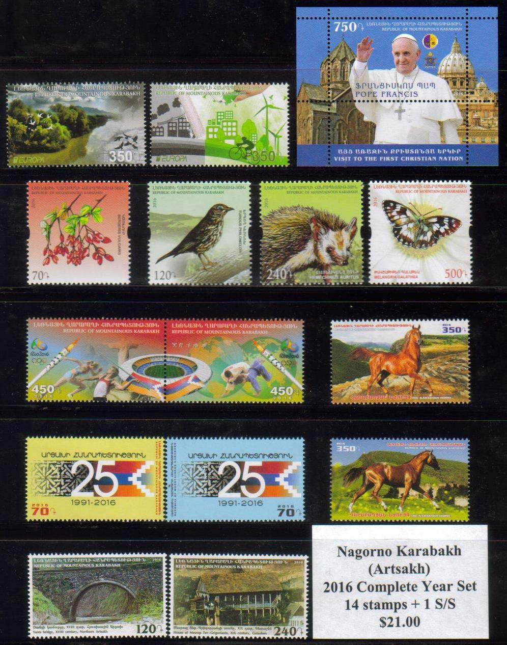 <Font 0-year-2016><br><font color=red><b>Nagorno Karabakh 2016 Complete Year set</font></b><br>14 stamps and one Souvenir Sheet<br><a href=&quot;/images/KA-2016-Year.jpg&quot;>   <font color=green><b>View the image</b></a></font><br>