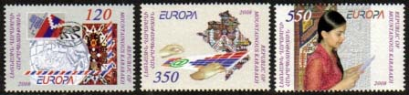 <Font 1-045>Nagorno Karabakh #45-47, Europa 2008, letter writing <br> Set of 3<br><a href=&quot;/images/KA-45-47.jpg&quot;>   <font color=green><b>View the image</b></a></font>