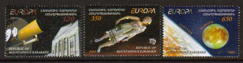 <Font 1-048>Nagorno Karabakh #48-50, Europa 2009, Astronomy <br> Set of 3 <br><a href=&quot;/images/KA-48-50.jpg&quot;>   <font color=green><b>View the image</b></a></font>