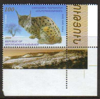 "<font 1-051c>Nagorno Karabakh #51, 100 Dram, Endangered Animals.  A single stamp with very wide corner margins! <a href=""/images/KA-51-Variation-03.jpg"">   <font color=green><b>View the image</b></a></font>"