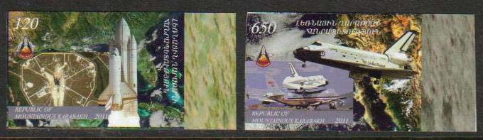 <Font 1-063a>Nagorno Karabakh #63-4, Space Shuttle, 30th anniversary, the last voyage <font color=red>Imperf Set</font><br> Set of 2 imperf stamps<br><a href=&quot;/images/KA-63-64-Imperf-Set.jpg&quot;>   <font color=green><b>View the image</b></a></font>