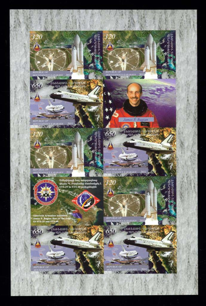 "<font 4-063a>Nagorno Karabakh #63-4, Space Shuttle, 30th anniversary, the last voyage <font color=red><b> IMPERF SHEET </FONT></B><br> Se-tenant sheet of 4 sets and two labels including Armenian-American astronaut James Bagian<br><a href=""/images/KA-63-64-Imperf-Sheet.jpg"">   <font color=green><b>View the image</b></a></font>"