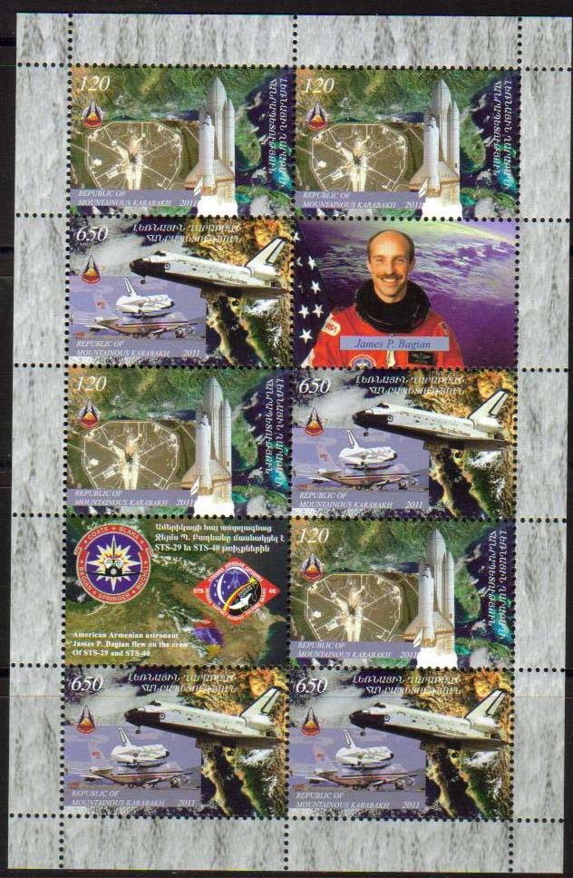"<font 4-063>Nagorno Karabakh #63-4, Space Shuttle, 30th anniversary, the last voyage<br> Se-tenant sheet of 4 sets and two labels including Armenian-American astronaut James Bagian<br><a href=""/images/KA-63-64-Setenant.jpg"">   <font color=green><b>View the image</b></a></font>"