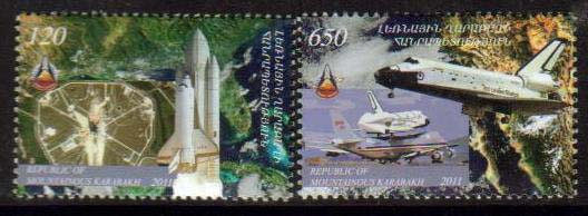 <Font 1-063>Nagorno Karabakh #63-4, Space Shuttle, 30th anniversary, the last voyage<br> Set of 2 stamps<br><a href=&quot;/images/KA-63-64.jpg&quot;>   <font color=green><b>View the image</b></a></font>