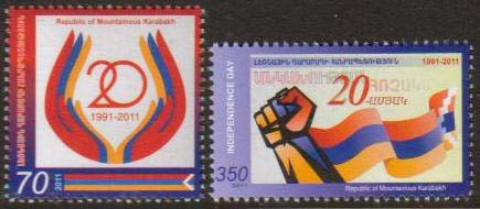 "<Font 1-065>Nagorno Karabakh #65-6, 20th Anniversary of Independence, Set of 2 stamps<br><a href=""/images/KA-65-66.jpg\"">   <font color=green><b>View the image</b></a></font>"