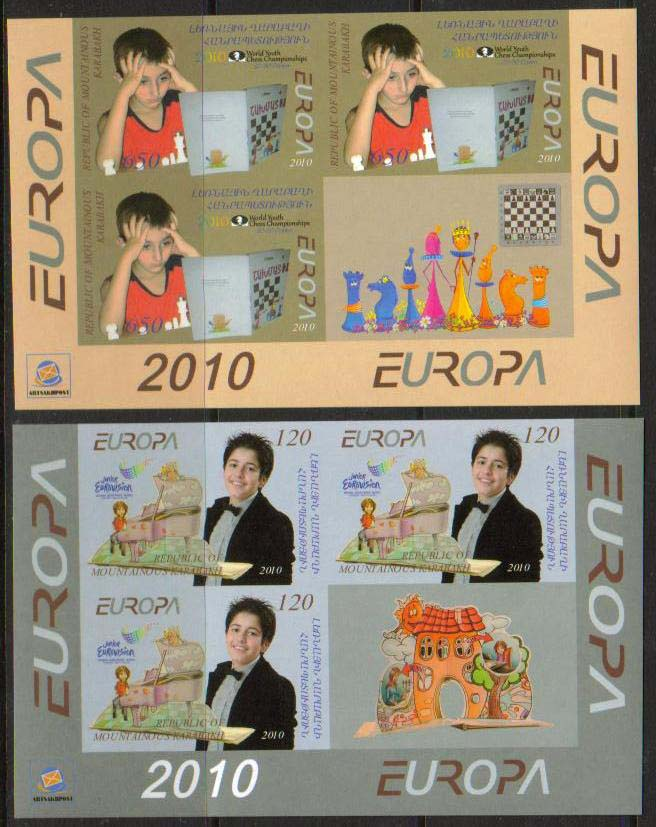 <Font 1-067c>Nagorno Karabakh #67-8, Europa, Eurovision .. <font color=red><u>Imperf, 3 sets + label </u> </font><br>Set of 2 stamps, 3 imperf sets + the label, this comes from the lower part of the sheet, see the Sheet section<br><a href=&quot;/images/KA-67-68-With-Label-ImperfX3.jpg&quot;>   <font color=green><b>View the image</b></a></font>