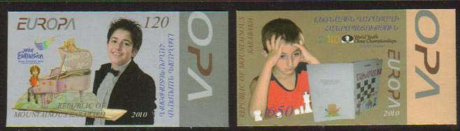 <Font 1-067a>Nagorno Karabakh #67-8, Europa, Eurovision Song Contest, and Chess Championship <font color=red>Imperf Set </font><br>Set of 2 imperf  stamps<br><a href=&quot;/images/KA-67-68-imperf.jpg&quot;>   <font color=green><b>View the image</b></a></font>