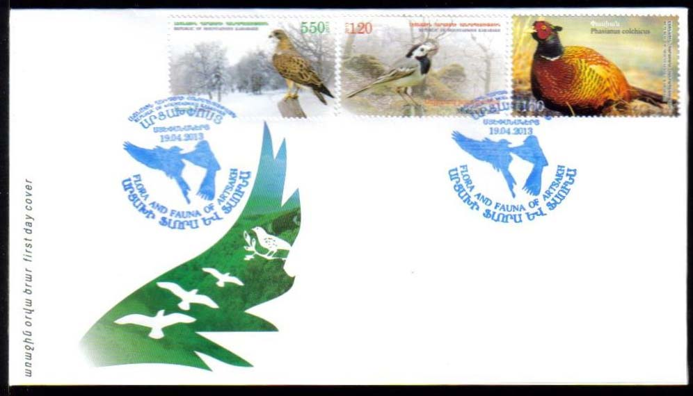 <Font 3-077F><br>Nagorno Karabakh #77-79, 2013 issue, Birds<br>First Day Cover<br><a href=&quot;/images/KA-77-79-FDC.jpg&quot;>   <font color=green><b>View the image</b></a></font><br>