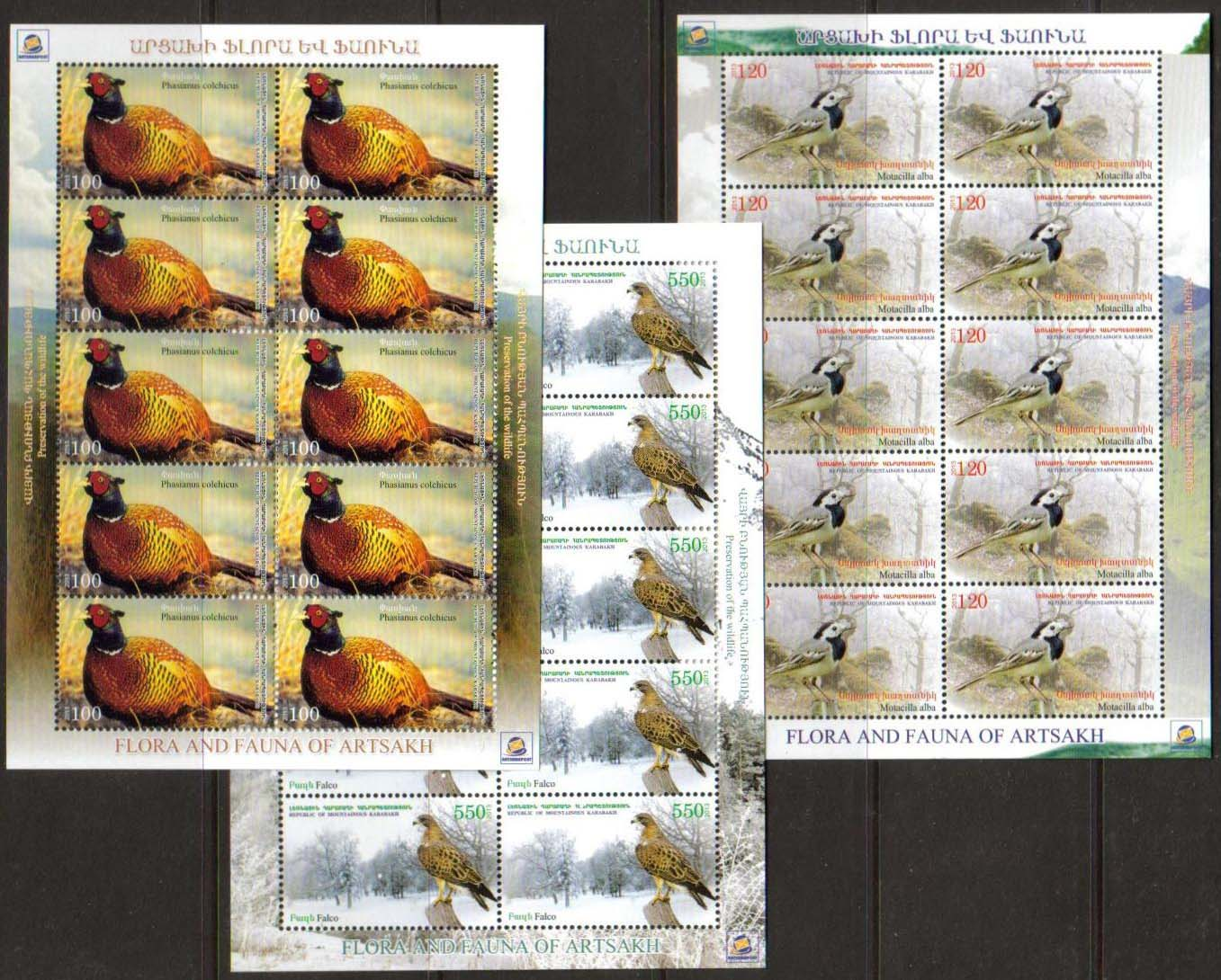 "<Font 4-077><br>Nagorno Karabakh #77-79, 2013 issue, Birds<br>Complete sheets of 10 stamps<br><a href=""/images/KA-77-79-Sheets.jpg"">   <font color=green><b>View the image</b></a></font><br>"