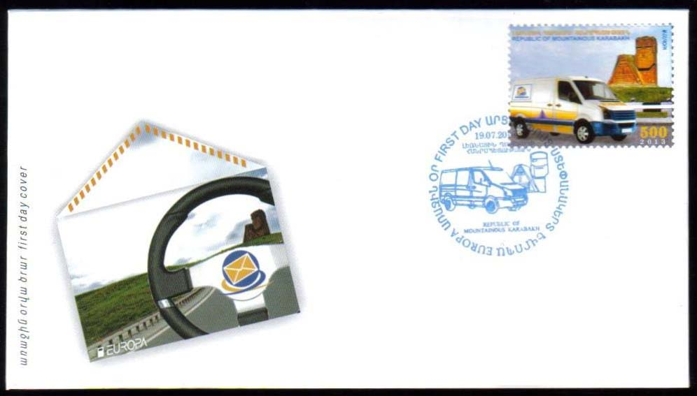 <Font 3-080F><br>Nagorno Karabakh #80, 2013 Europa, Postman's Van<br>First Day Cover<br><a href=&quot;/images/KA-80-FDC.jpg&quot;>   <font color=green><b>View the image</b></a></font><br>