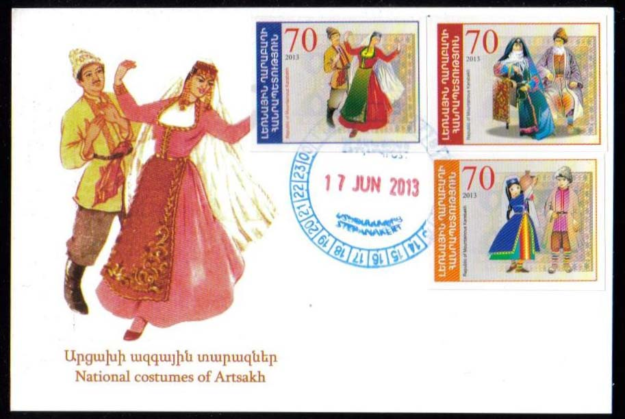 "<font 5-081>Nagorno Karabakh #81-83, National Costumes<br>A single Maxi Card with 3 stamps<br><a href=""/images/KA-81-83-Maxi.jpg"">   <font color=green><b>View the image</b></a></font>"