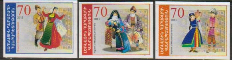 <Font 1-081-83><br>Nagorno Karabakh #81-83, 2013 issue, National Costumes<br>A set of 3 imperf self-adhesive stamps<br><a href=&quot;/images/KA-81-83.jpg&quot;>   <font color=green><b>View the image</b></a></font><br>