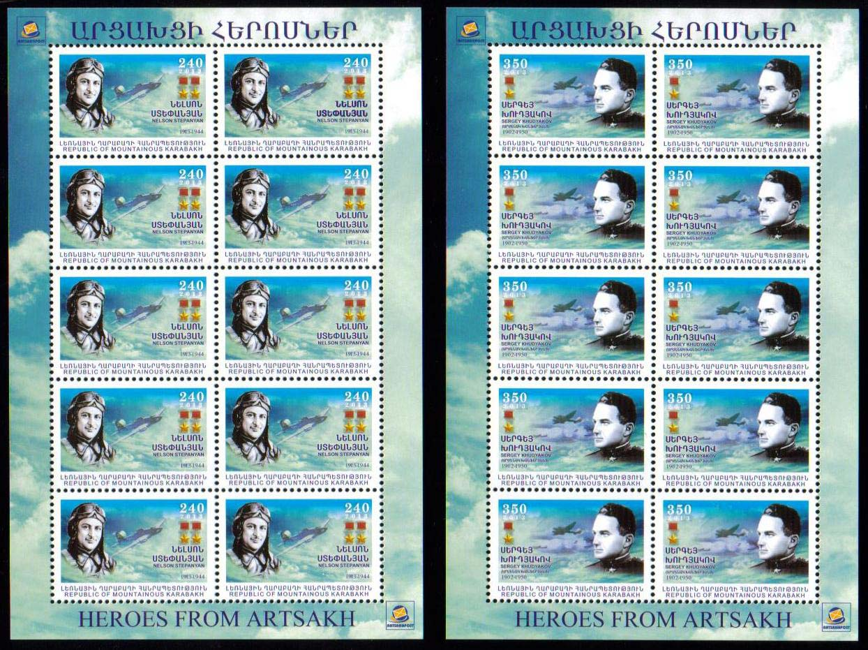 "<Font 3-084S>Nagorno Karabakh #84-85, 2013 issue, Heroes of Karabakh, Complete sheets of 10<br><a href=""/images/KA-84-85-Sheet.jpg"">   <font color=green><b>View the image</b></a></font>"