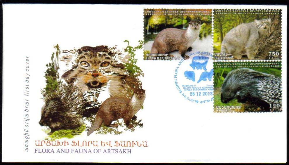 <Font 3-088F><br>Nagorno Karabakh #88-90, 2013 issue, Flora and Fauna of Artsakh<br>First Day Cover<br><a href=&quot;/images/KA-88-90-FDC.jpg&quot;>   <font color=green><b>View the image</b></a></font><br>