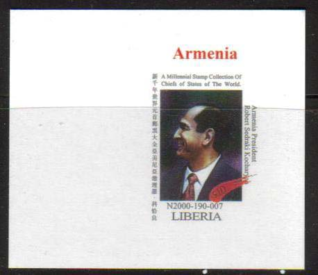 <font=484><b>Liberia, Leaders of the World, Armenia,  Proof Single.</b><br><p>President Robert Kocharyan of Armenia, single Proof stamp with wide margins, comes from the sheetlet of 6 stamps.  Interesting item for collectors of Armenia.<br><a href=&quot;/shop/catalog/images/Liberia-Kocharyan-Proof-Single.jpg&quot;>   <font color=green><b>View the image</b></a></font>