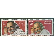 "USA and USSR, William Saroyan, one of each stamp issued by USA and USSR.  (WHA #18) <P><a href=""/images/World-Honors-018.jpg""> <font color=green><b>View the image</a></font>"